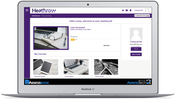 Tableau de Bord Heathrow Assessbook